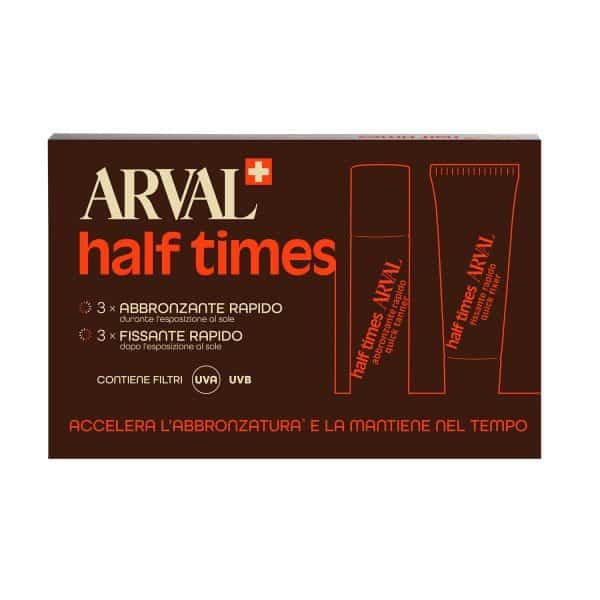 Arval Half Times Spf 6 Abbronzatura Rapida 3fl. + 3tb. Arval <h5>Half Times SPF 6 abbronzatura rapida 3 fl. + 3 tb. 10 ml</h5>