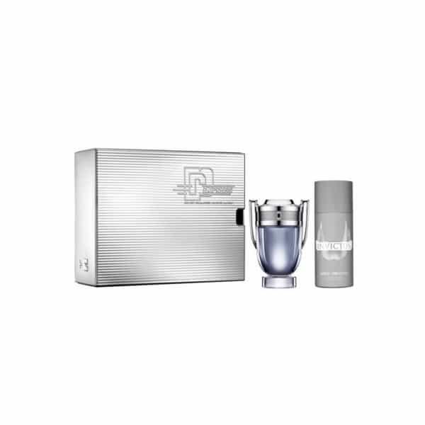 Paco Rabanne Confezione Invictus Edt + Deodorante La confezione contiene: INVICTUS Eau de Toilette (100 ml) + deodorante spray (150 ml)