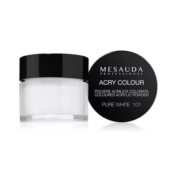 Mesauda MNP Acry-Color 101 Pure White MNP Mesauda Professional Polvere colorata da miscelare con i monomeri ACRY-LIQUID per effettuare la ricostruzione o realizzare nail art. Asciuga all'aria.