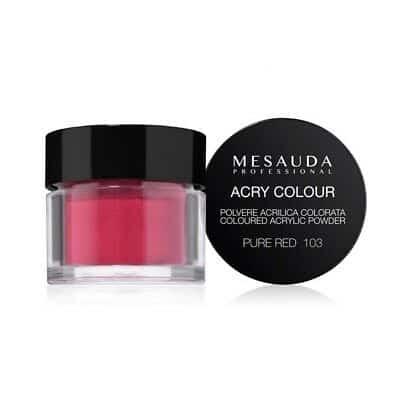 Mesauda MNP Acry-Color 103 Pure Red MNP Mesauda Professional Polvere colorata da miscelare con i monomeri ACRY-LIQUID per effettuare la ricostruzione o realizzare nail art. Asciuga all'aria.