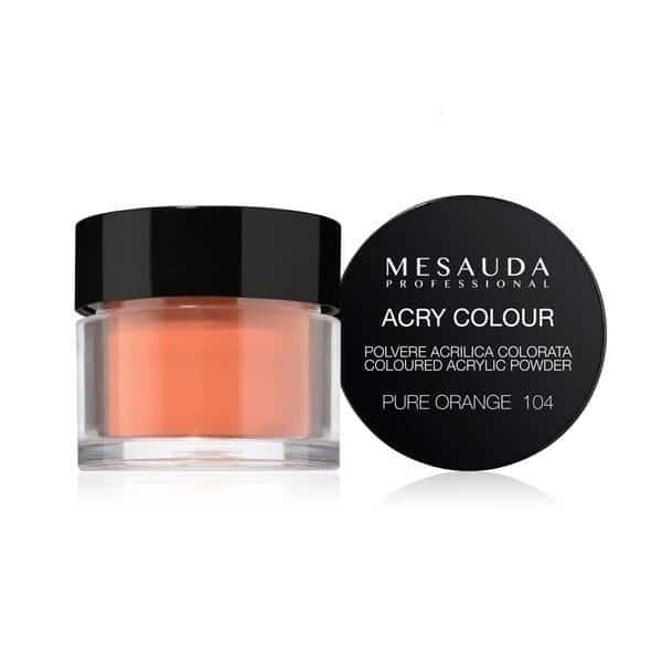 Mesauda MNP Acry-Color 104 Pure Orange MNP Mesauda Professional Polvere colorata da miscelare con i monomeri ACRY-LIQUID per effettuare la ricostruzione o realizzare nail art. Asciuga all'aria.