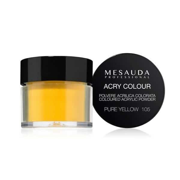 Mesauda MNP Acry-Color 105 Pure Yellow MNP Mesauda Professional Polvere colorata da miscelare con i monomeri ACRY-LIQUID per effettuare la ricostruzione o realizzare nail art. Asciuga all'aria.