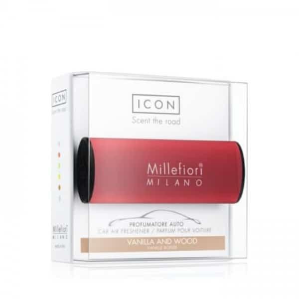 Millefiori Icon Profumatore Per Auto Classic Rosso Vanilla Wood Millefiori Icon è il profumatore per auto Millefiori®, facilmente posizionabile sia in verticale che in orizzontale grazie ad una funzionale clip.