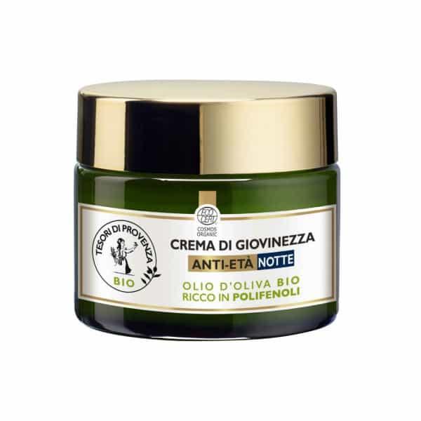 Tesori Di Provenza Crema di Giovinezza Anti-Età Notte Tesori di Provenza Un balsamo prezioso per rigenerare la pelle del viso e distendere i segni dell'età.