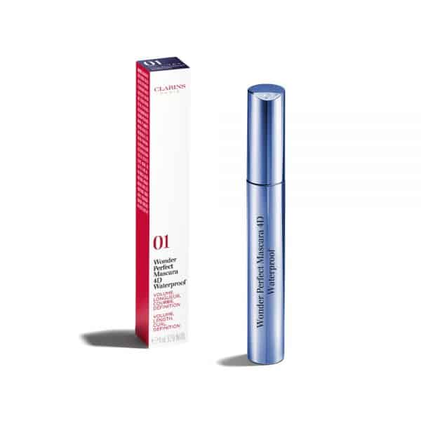 """Clarins Mascara Wonder Perfect 4D Waterproof Clarins <div class=""""swatches__color-shade""""><strong>Tonalità</strong>: 01 perfect black</div> Mascara Volume, Lunghezza, Curvatura, Definizione. Waterproof."""