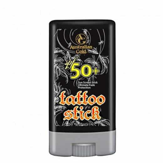 """Australian Gold Protezione 50+ Tattoo Stick Australian Gold <div class=""""col-sm-12 col-md-6""""><div class=""""bg-product block-content-prod""""><p>Ideale per mantenere in salute i tatuaggi, previene lo scolorimento dell'inchiostro e, di conseguenza, lo sbiadirsi dei tatoo - sia in caso di abbronzatura indoor che outdoor.</p></div></div><div class=""""col-sm-12 col-md-3""""><div class=""""row hidden-xs hidden-sm related-products""""><div class=""""col-sm-12""""></div></div></div>"""
