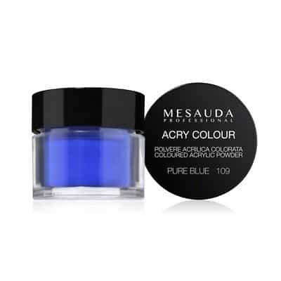 Mesauda MNP Acry-Color 109 Pure Blue MNP Mesauda Professional Polvere colorata da miscelare con i monomeri ACRY-LIQUID per effettuare la ricostruzione o realizzare nail art. Asciuga all'aria.