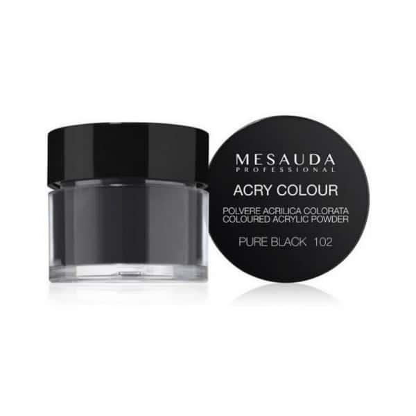 Mesauda MNP Acry-Color 102 Pure Black MNP Mesauda Professional Polvere colorata da miscelare con i monomeri ACRY-LIQUID per effettuare la ricostruzione o realizzare nail art. Asciuga all'aria.