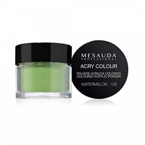 Mesauda MNP Acry-Color 108 Watermelon MNP Mesauda Professional Polvere colorata da miscelare con i monomeri ACRY-LIQUID per effettuare la ricostruzione o realizzare nail art. Asciuga all'aria.