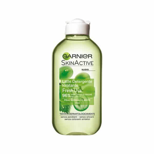 Garnier Skin Active Latte Detergente Idratante Fresh Uva Garnier Latte detergente idratante con 96% di ingredienti di origine naturale arricchito con estratto d'uva, noto per essere una vera fonte di freschezza.