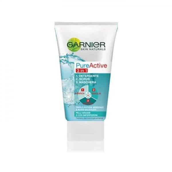 Garnier Pure Active Gel Detergente 3 in 1 Garnier 1. Gel detergente 2. Scrub 3. Maschera