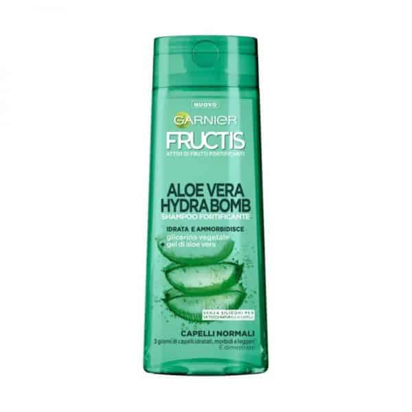 """Garnier Fructis Aloe Vera Hydra Bomb Shampoo Garnier <span class=""""heading product-detail__header--brand"""" data-variant=""""3600542117067"""" data-variant-selected=""""true"""">Shampoo fortificante senza siliconi per un tocco naturale ai capelli. </span><strong>Fructis</strong> combina il gel di <strong>Aloe Vera</strong> con glicerina vegetale di origine naturale. I capelli sono due volte più idratati di come lo sarebbero dopo un'applicazione di gel di aloe vera."""