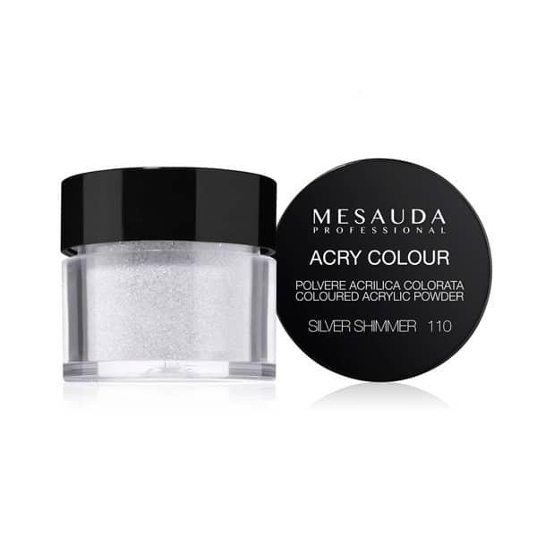 Mesauda MNP Acry-Color 110 Silver Shimmer MNP Mesauda Professional Polvere colorata da miscelare con i monomeri ACRY-LIQUID per effettuare la ricostruzione o realizzare nail art. Asciuga all'aria.