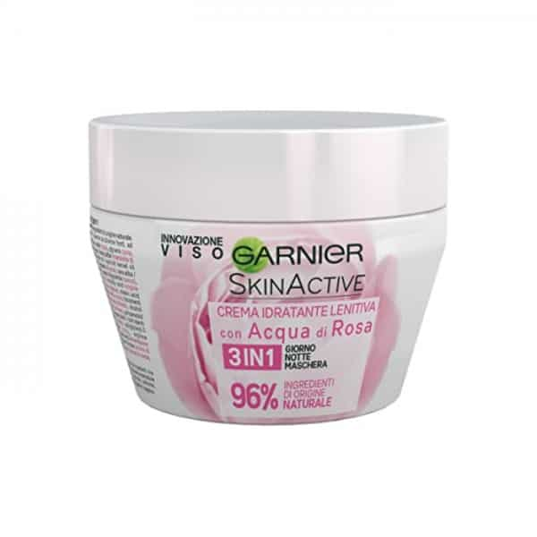 Garnier Skin Active Crema Viso 3 in 1 Lenitiva Garnier Crema idratante viso lentitiva, arricchita con acqua di rose