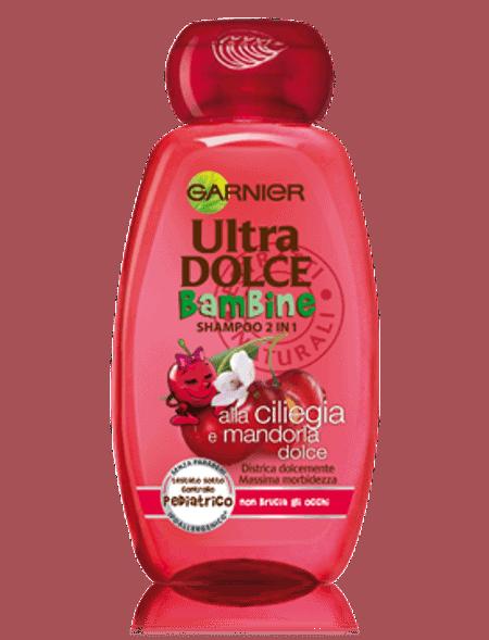 Garnier Ultra Dolce Bambini Ciliegia Shampoo Garnier Per facilitare l'acconciatura e fare dello shampoo dei bambini un grande momento di divertimento.