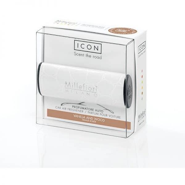 Millefiori Icon Profumatore Per Auto Urban Vanilla Wood Millefiori Icon è il profumatore per auto Millefiori®, facilmente posizionabile sia in verticale che in orizzontale grazie ad una funzionale clip.