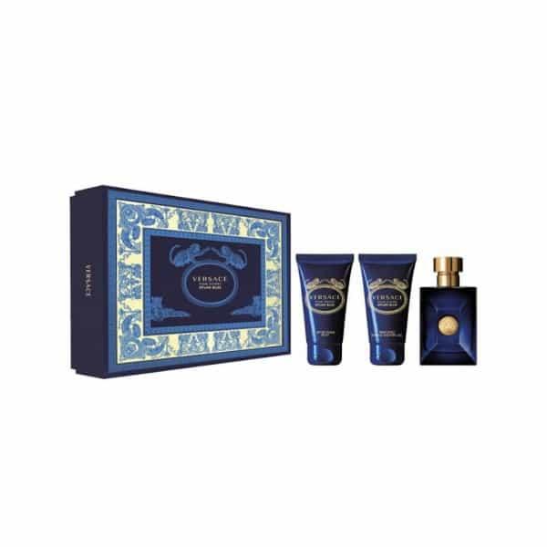 Versace Confezione Dylan Blue Edt + Gel Doccia + After Shave Gianni Versace La confezione comprende il 50 ML Eau de Toilette, il 50 ML After Shave Balm e il 50 ML Bath & Shower Gel.