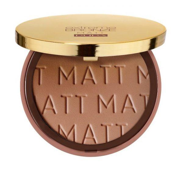 Pupa Extreme Bronze Matt Terra Abbronzante Pupa Fondotinta solare compatto crema, effetto perfezionatore. Resistente all'acqua. SPF 15.